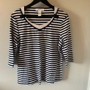 Laura Plus / Navy & White / Striped / Tee